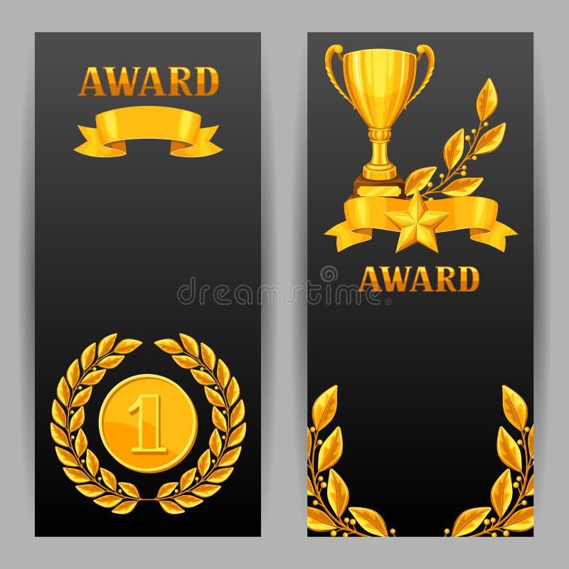 Banners met realistische gouden toekenning Achtergronden voor sporten of collectieve competities vector illustratie