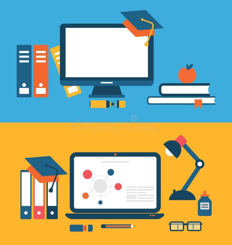 Banners met reeks vlakke conceptenpictogrammen voor onderwijs, afstand e stock illustratie