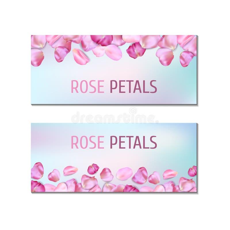 Banners met roze bloemblaadjes royalty-vrije illustratie