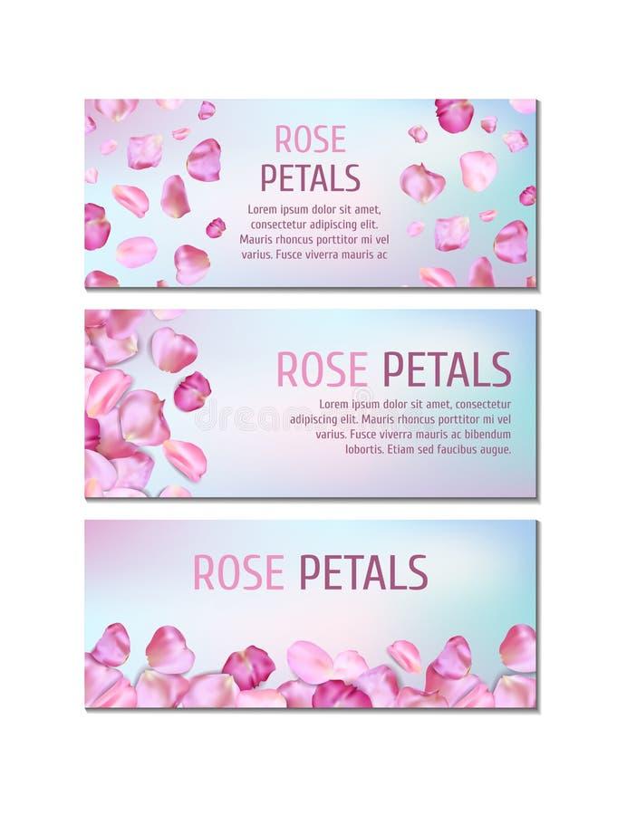 Banners met roze bloemblaadjes vector illustratie