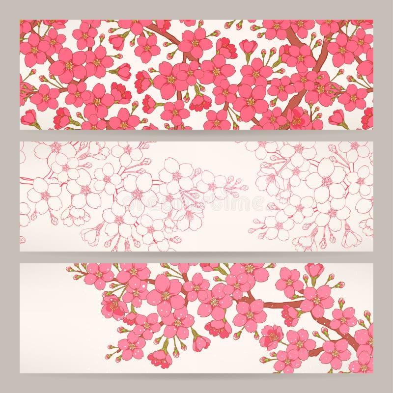 Banners met roze kersenbloemen royalty-vrije illustratie