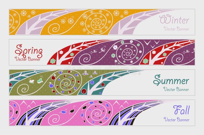 Banners met vier seizoenen vector illustratie