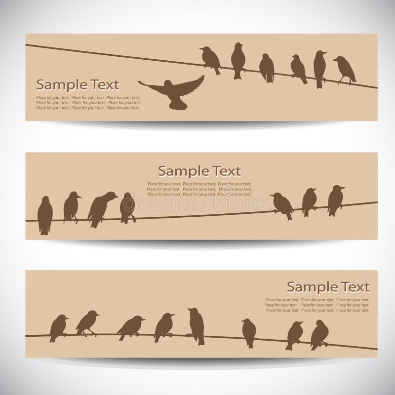 Banners met vogels op draden royalty-vrije illustratie