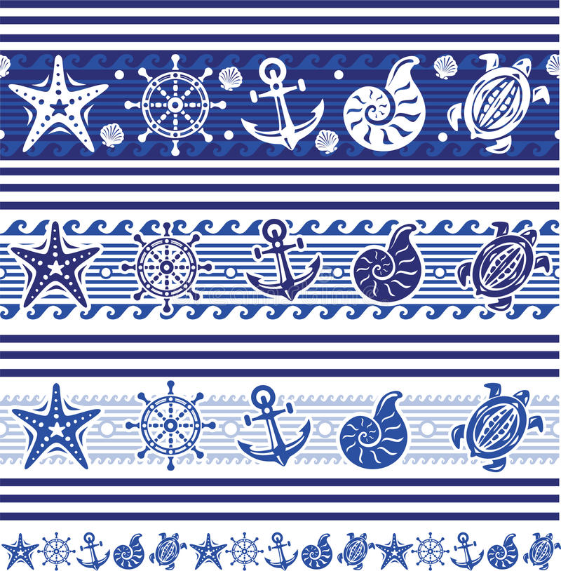 Banners with Nautical symbols. Banners with Nautical and sea symbols vector illustration
