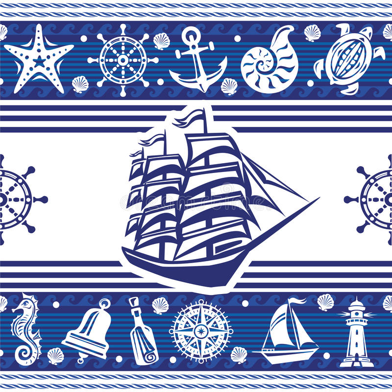 Banners with Nautical symbols. And ship vector illustration