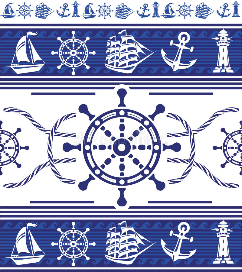Banners with Nautical symbols stock photos