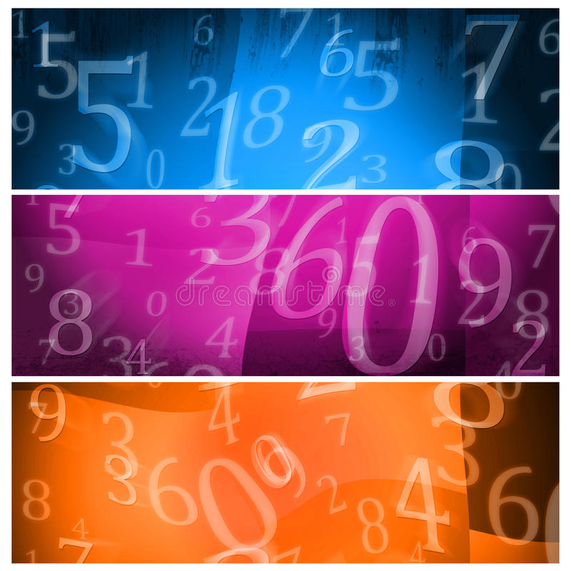 Banners numbers. Banners whit random numbers on grunge background royalty free illustration