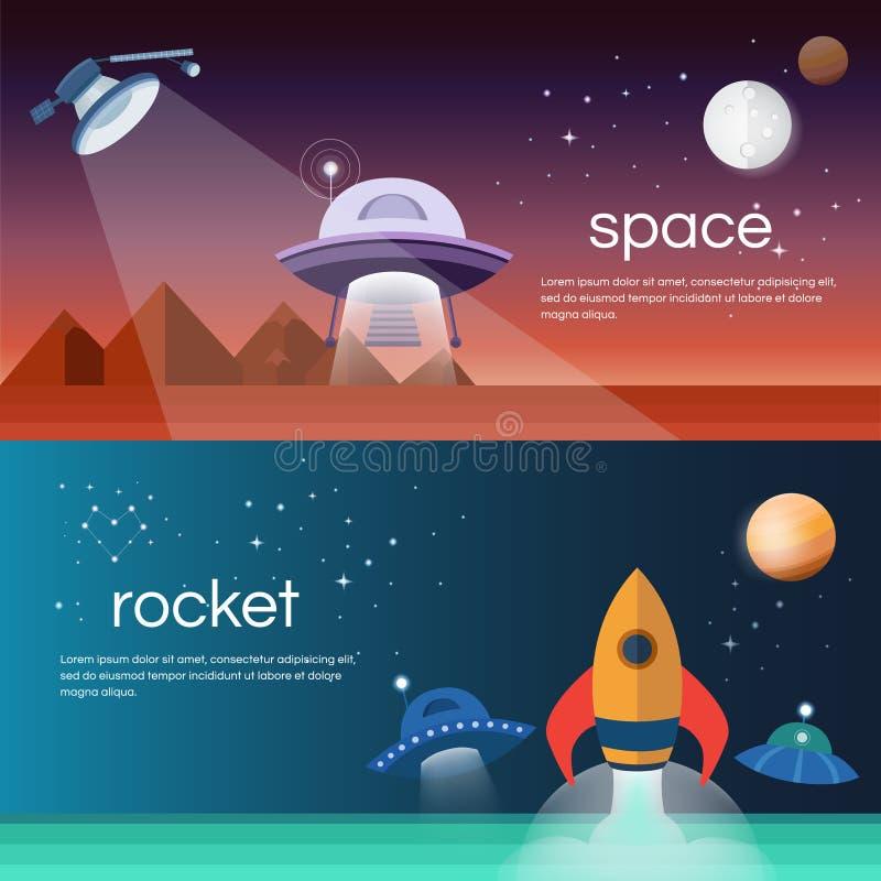 Banners op het ruimtethema stock illustratie