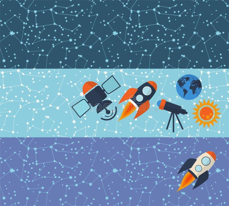 Banners op het thema van ruimte op een donkere achtergrond met een raket, de telescoop, de satelliet stock illustratie
