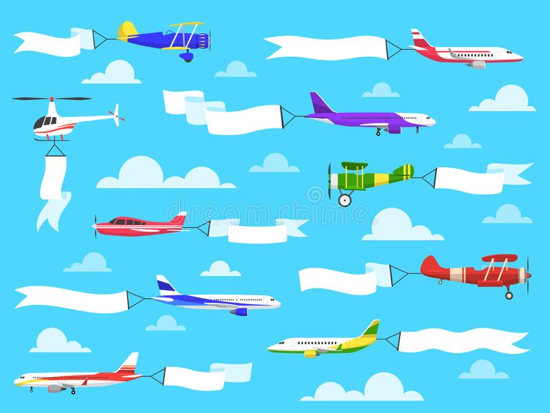 Banners with planes. Flying airplanes with banner in sky, helicopter with advertisement message on ribbons. Vector set vector illustration