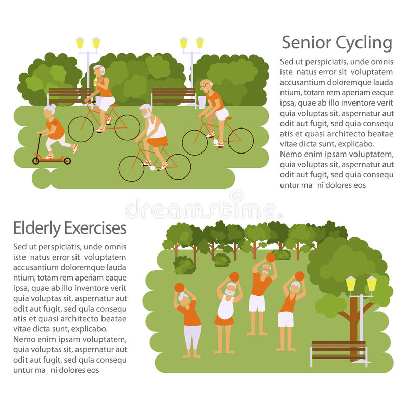 Banners of Retired elderly senior age couple. In creative flat vector character design. Grandpa and grandma doing sport exercises in park. Grandparents active vector illustration