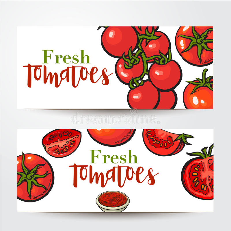 Banners with ripe red tomatoes, salsa bowl, place for text stock illustration
