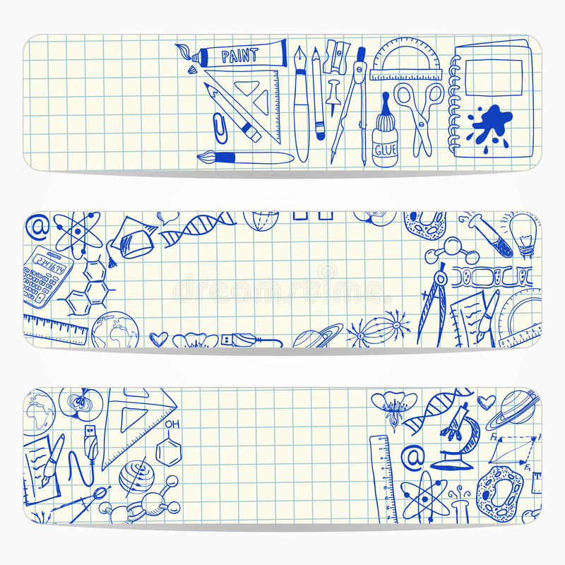Download Banners With School And Scientific Doodles Stock Illustration - Image: 33012849