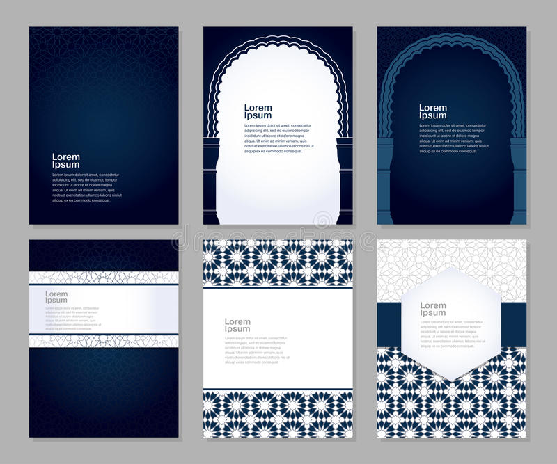 Banners set arabic ornament vector illustration