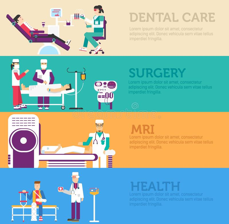 Banners set of clinic dental, surgery, health care and medical examination doctor collection concept. Vector business medicine. Flat icons in retro style royalty free illustration