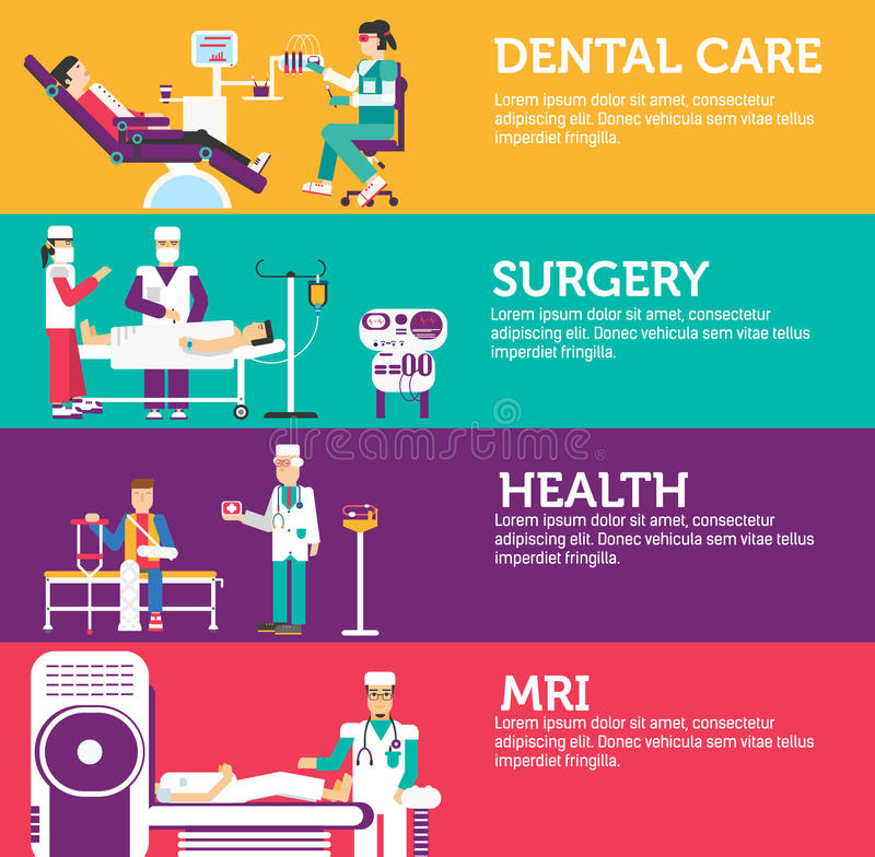Banners set of clinic dental, surgery, health care and medical examination doctor collection concept. Vector business royalty free illustration