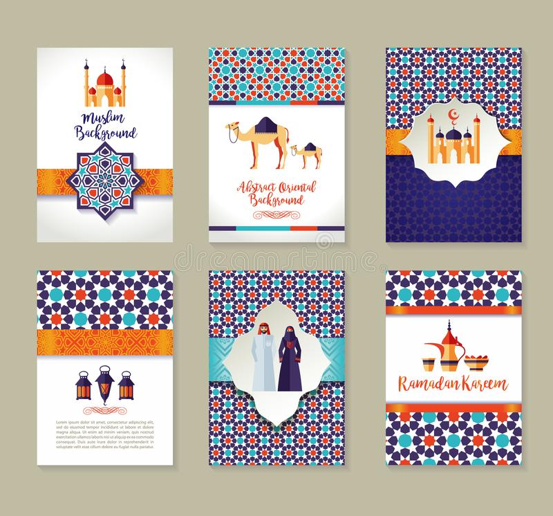 Banners set of islamic celebration. Ramadan Kareem and Eid Mubarak. stock illustration