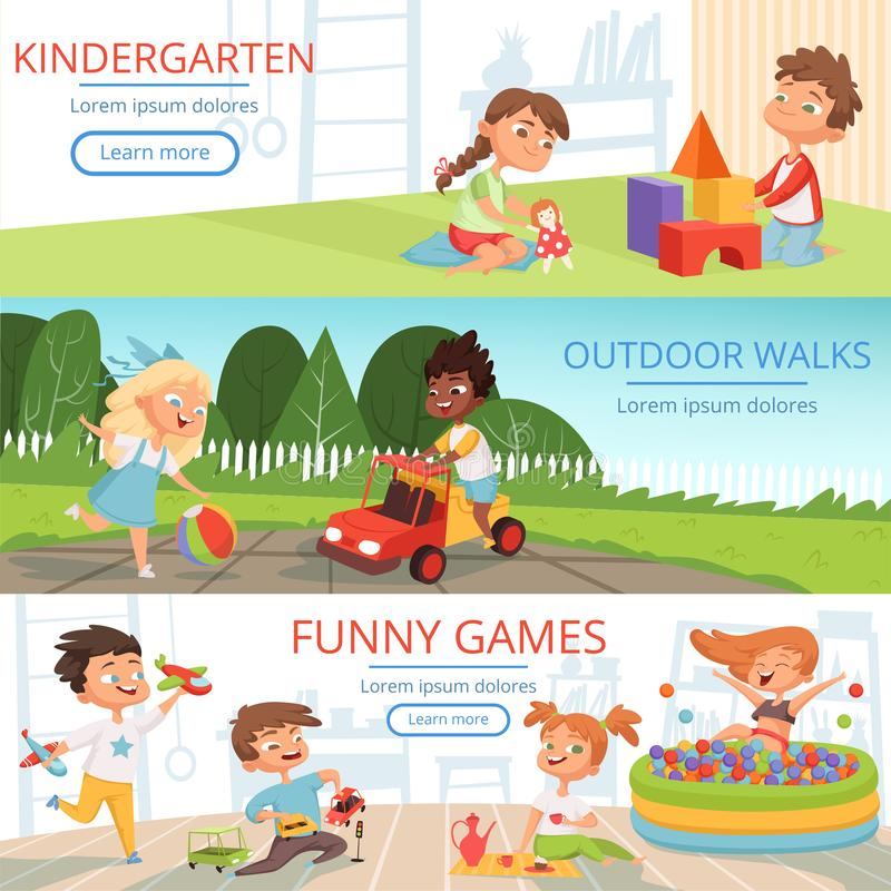 Banners set with pictures of preschool kids with various educational toys vector illustration