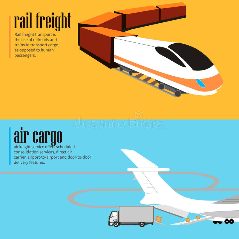 Banners set of rail and air transport. Horizontal flyers. Logistic concept flat banners set of rail and air transport delivery services abstract vector royalty free illustration
