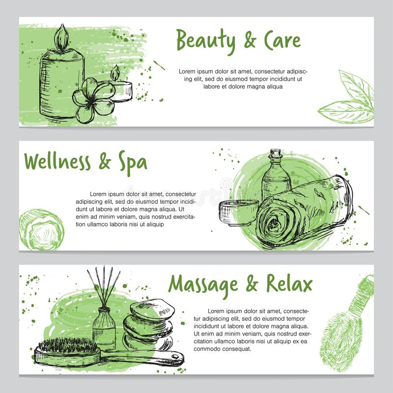 Banners on spa related theme with hand drawn massage and body care products. Set of three banners on spa related theme with hand drawn massage and body care vector illustration