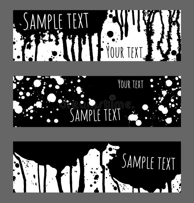Banners splash. Vector black and white background. Banners set for message. Brush strokes, blobs and splashes design headers stock illustration