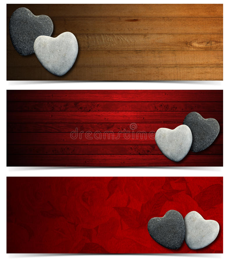 Banners with Stone Hearts royalty free illustration