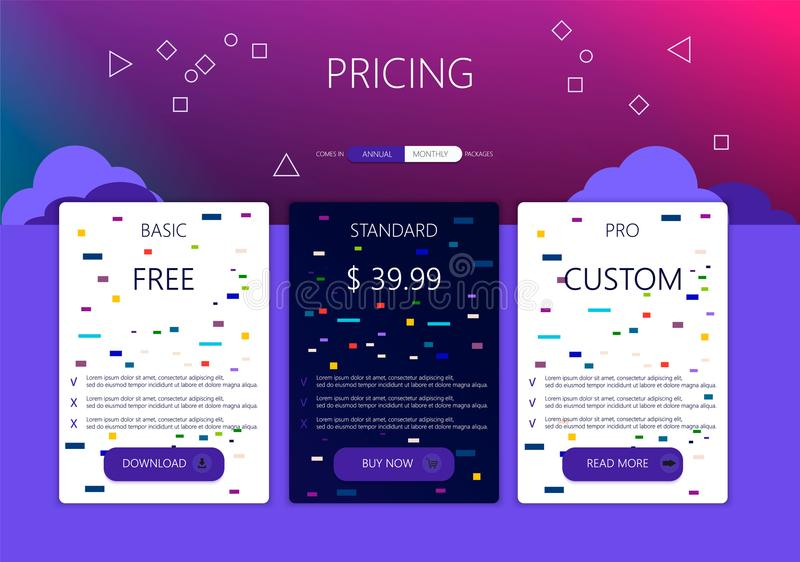 Three banners. Pricelist, hosting plans and web design boxes of banners. Banners for tariffs and price lists. Web elements. Plan the hosting. design for a web royalty free illustration