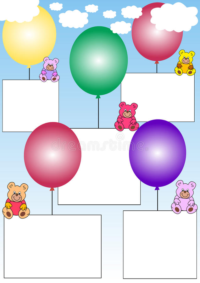 Download Banners With Teddies On Balloons Stock Vector - Illustration: 11969280