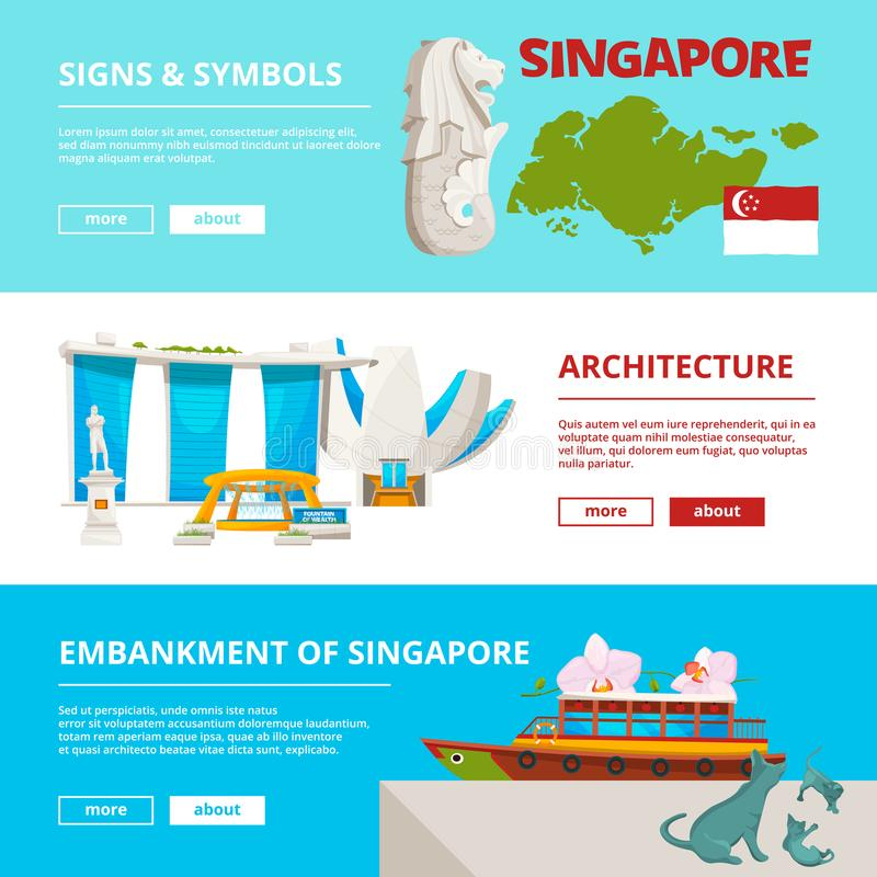 Banners template with cultural objects and landmarks of singapore royalty free illustration