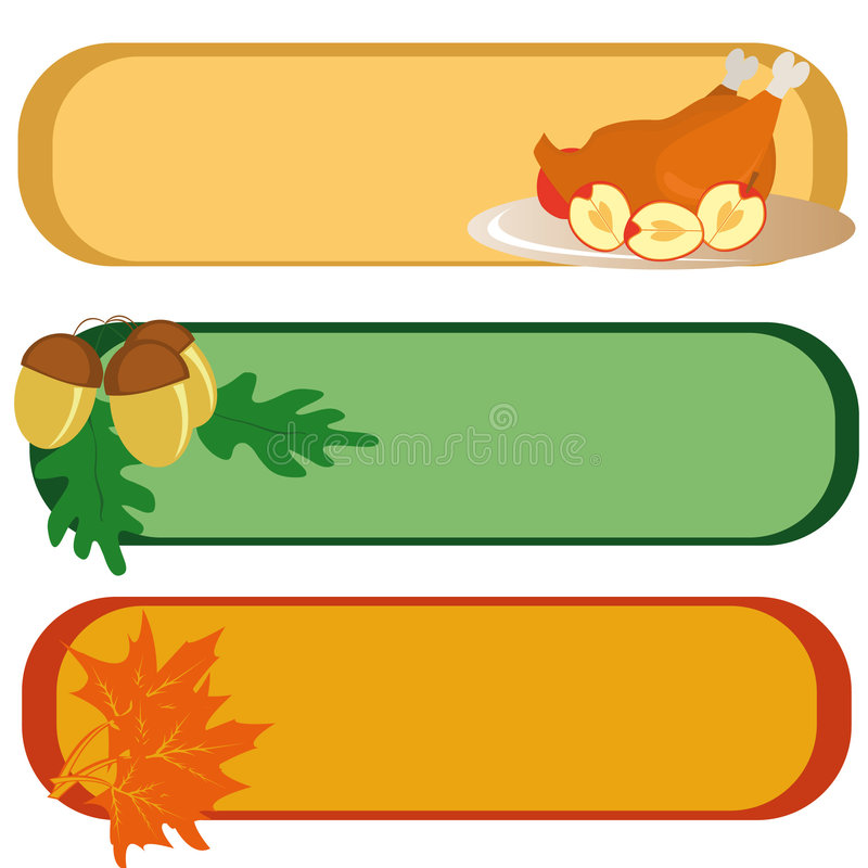 Banners for Thanksgiving Day. Three banners for Thanksgiving Day (with turkey, maple leaves and acorns). Vector illustration