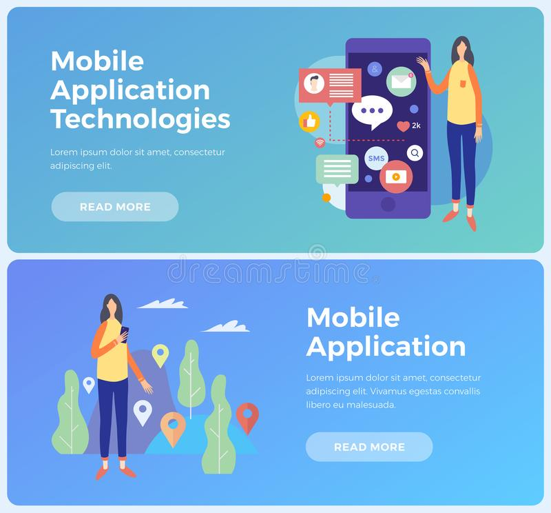 Banners on topic mobile application and Information technologies. Concept social networks and communication on Internet. stock illustration