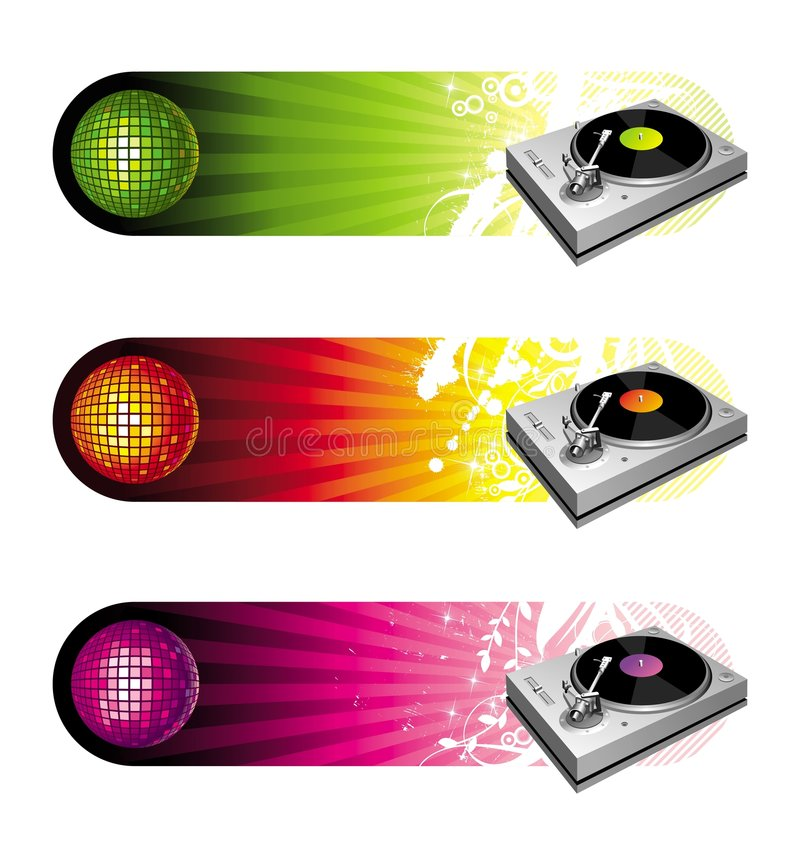 Banners with turntable royalty free illustration