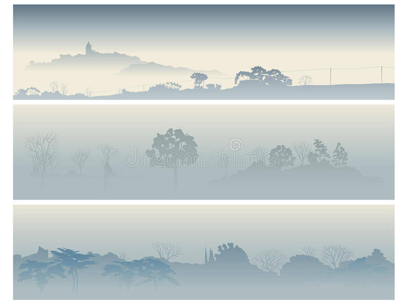 Banners valley with trees in a morning fog. Horizontal banners: valley with trees in a morning fog in light blue tones royalty free illustration