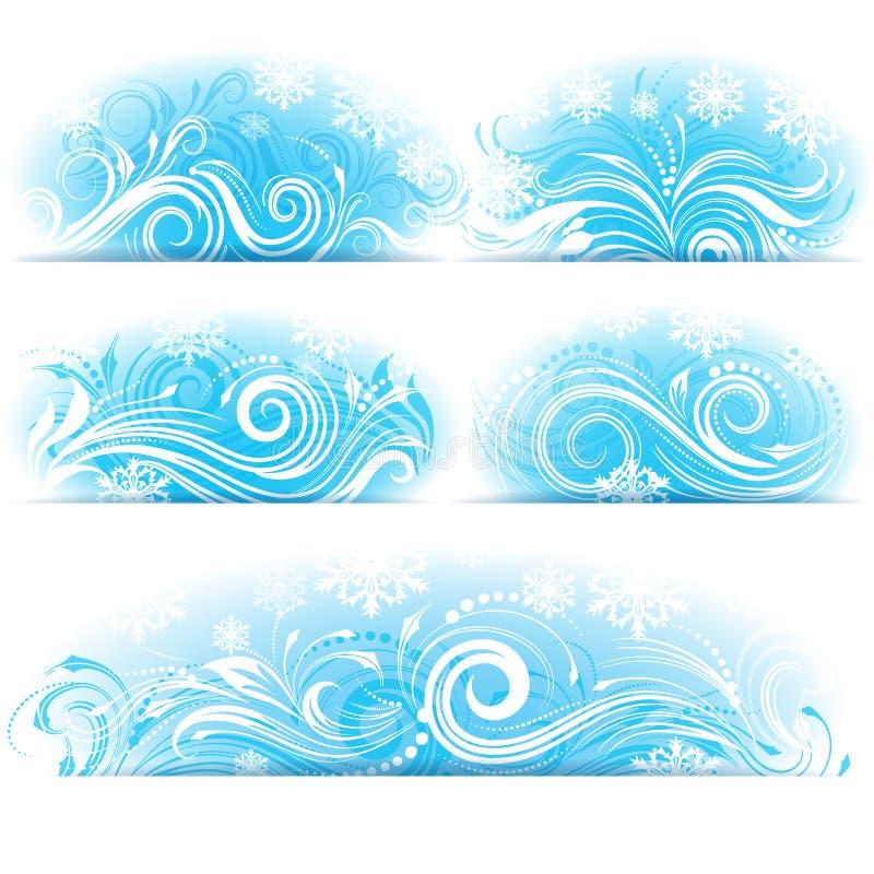 Banners van Gestileerd ijzig ornament vector illustratie