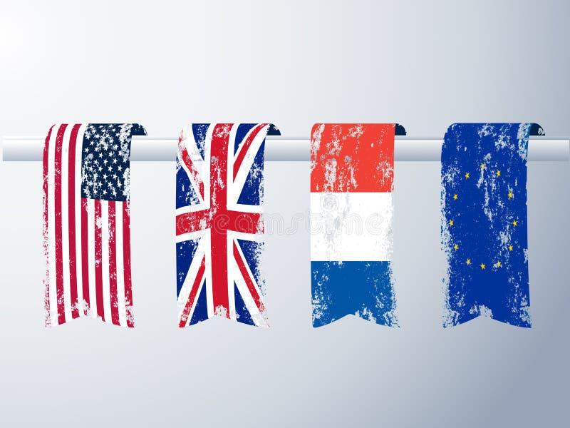 Banners van vlaggen in grunge royalty-vrije illustratie