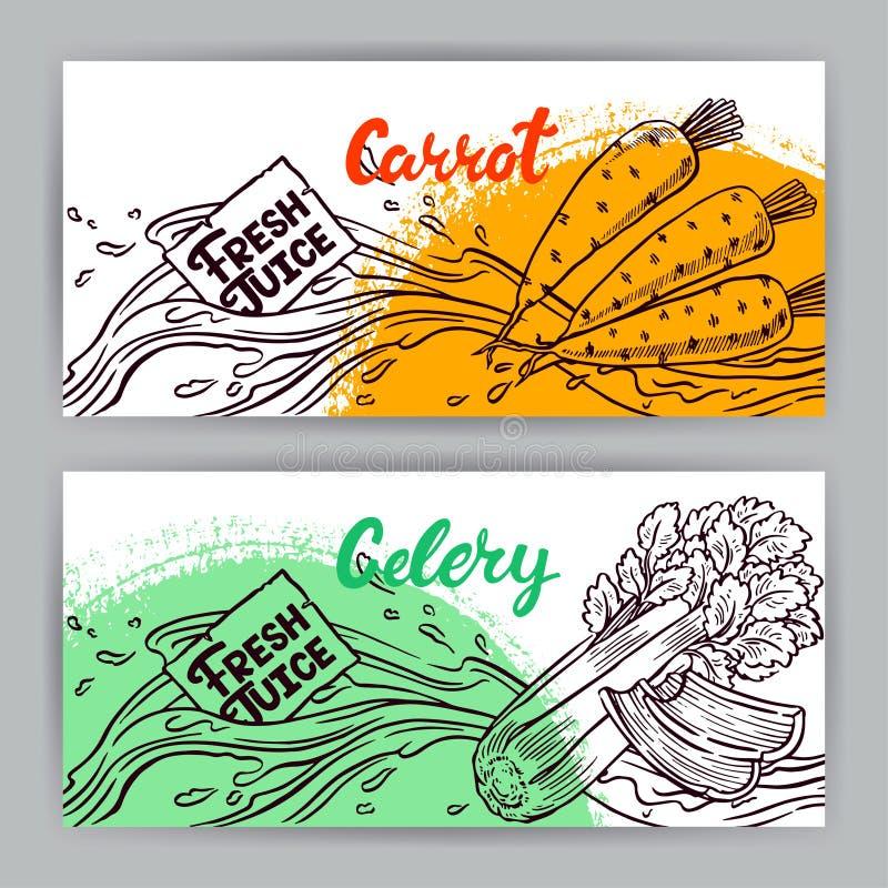 Banners van wortel en selderiesap stock illustratie