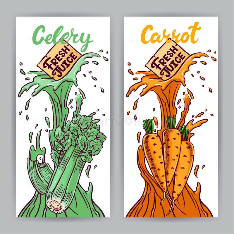 Banners van wortel en selderiesap royalty-vrije illustratie