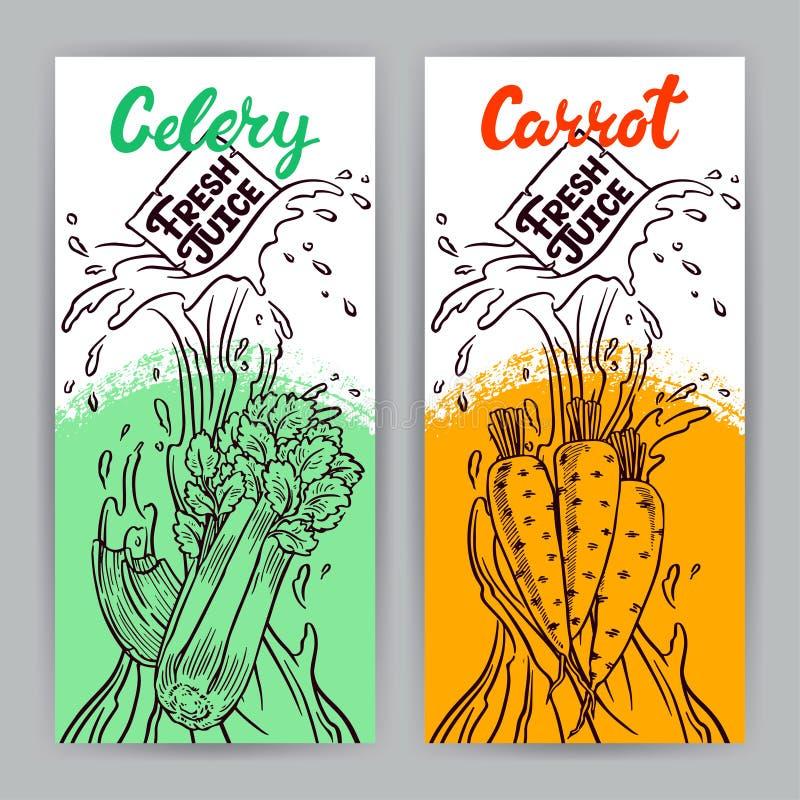 Banners van wortel en selderiesap vector illustratie