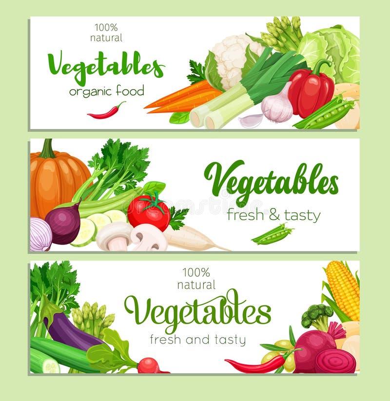 Banners vectorgroenten stock illustratie