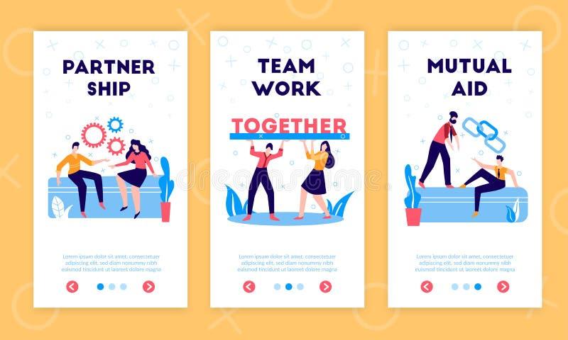 Banners verticales de socios comerciales stock de ilustración