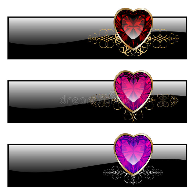 Banners vintage. With ruby heart, vector illustration royalty free illustration