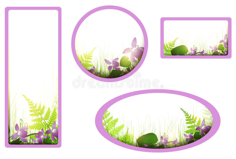 Download Banners with viola flowers stock vector. Illustration of border - 24638885