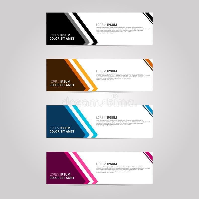 Banners voor plaats een reclameinformatie met verscheidene kleurenkeuzen met donkere stijl Vervang tekst en emblemen met uw  vector illustratie