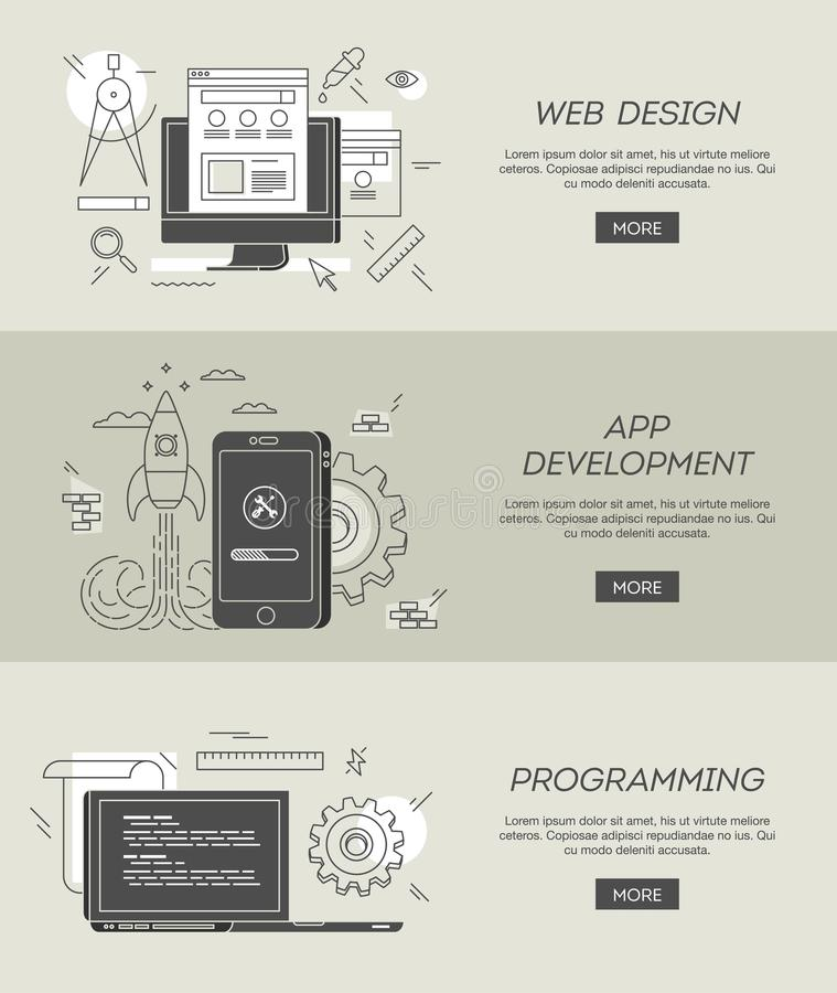 Banners voor Webontwerp, app ontwikkeling en programmering royalty-vrije illustratie