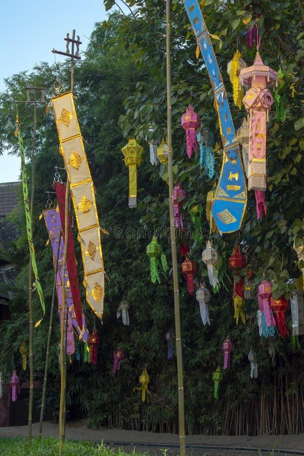Banners at Wat Phan Tao, Chiang Mai, Thailand. Outdoor banners at Wat Phan Tao, Chiang Mai, Thailand royalty free stock image