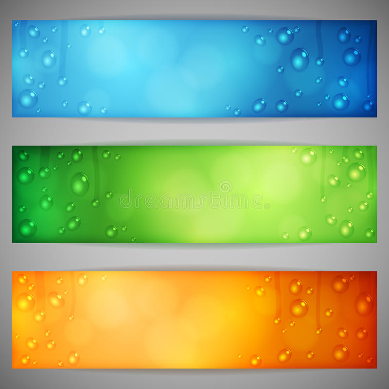 Banners with Water Drops. Set of color banners with water drops vector illustration