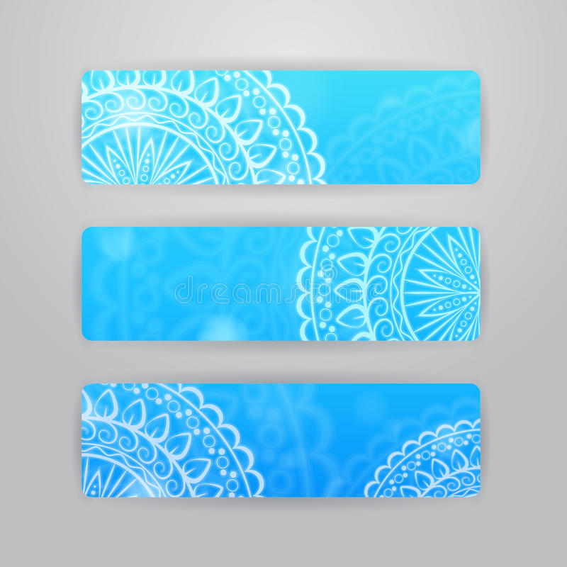 Free Banners With Circle Flower Pattern Stock Image - 41542641