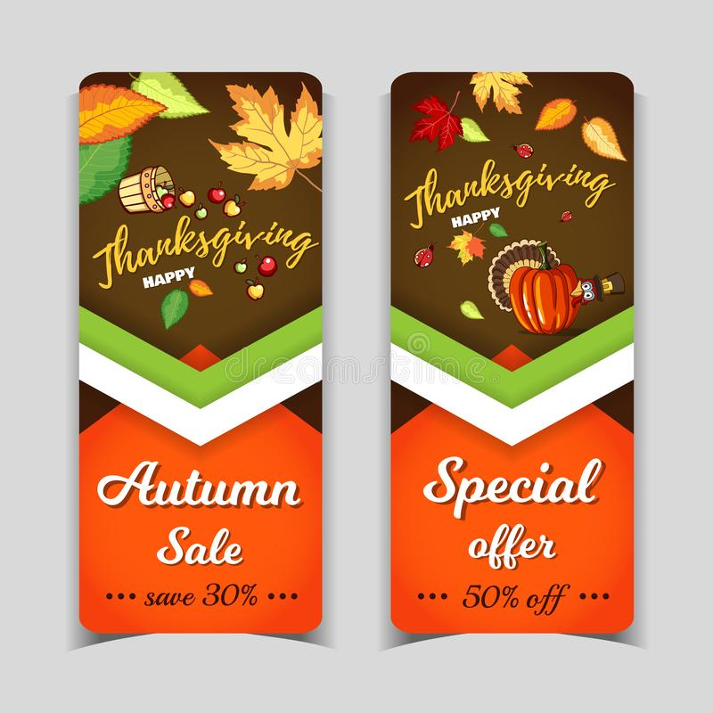 Bannersthanksgiving day Autumn Holiday vector illustratie