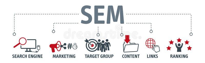 Bannerzoekmachine marketing concept vector illustratie