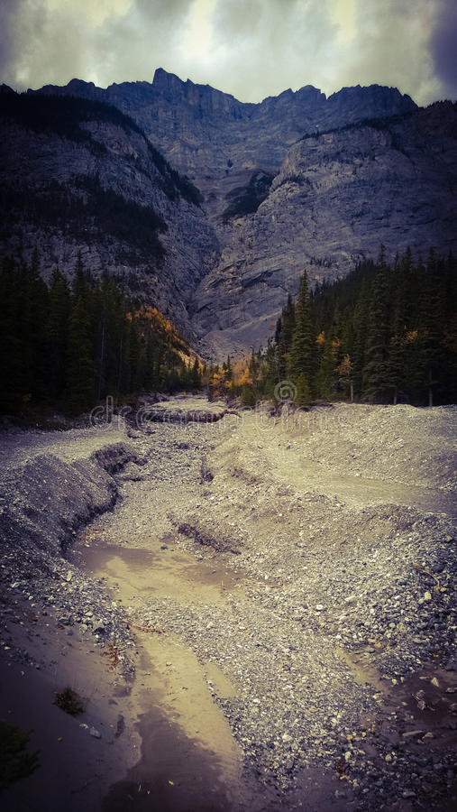 Bannf mountains view dry river bed royalty free stock photos